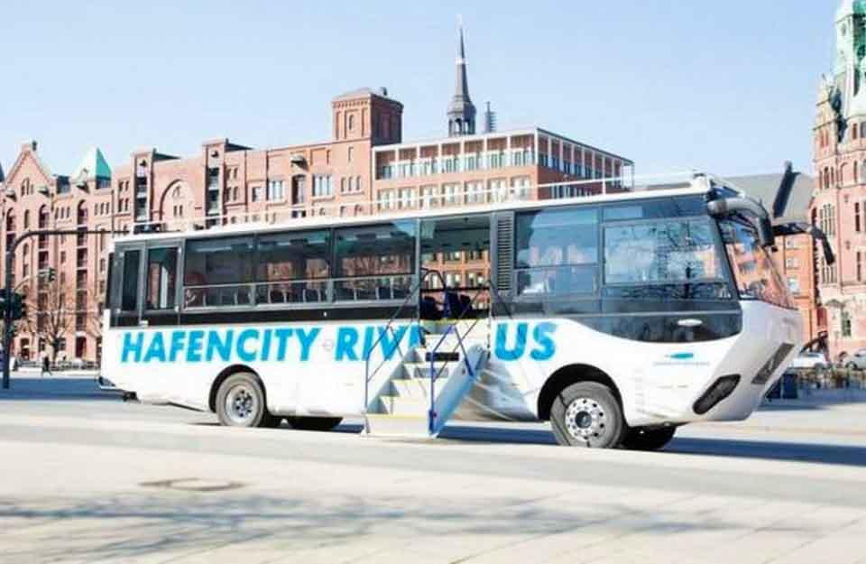 плавающий городской автобус, Hafencity Riverbus, Гамбург, транспортное средство